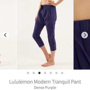 Lululemon modern tranquil crop pant harem purple